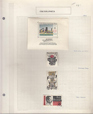 CZECHOSLOVAKIA 1967  Collection On old Album Page M/VFU Removed for Ship.(d)