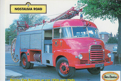 Bedford turntable Fire Engine. Nostalgia Road advertising photocard