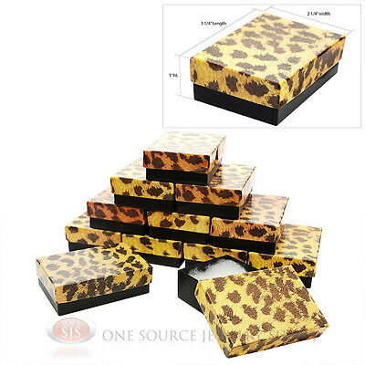 "12 Leopard Print Cotton Filled Gift Boxes 3 1/4"" X 2 1/4"" Charm Pendant Jewelry"