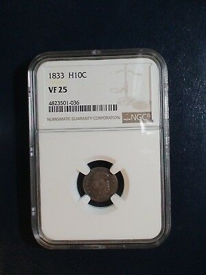 1833 Capped Bust Half Dime NGC VF25 SILVER H10C Coin PRICED TO SELL NOW!