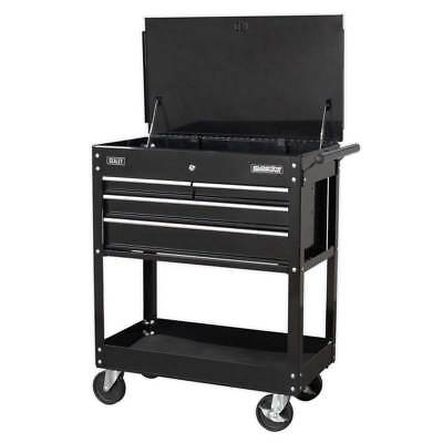 Sealey Heavy Duty Mobile Tool & Parts Trolley 4 Drawers & Lockable Top - Black