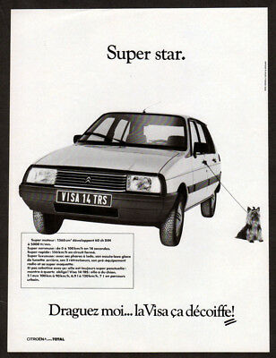 1984 CITROEN Visa Vintage Original Print AD White car photo little dog French