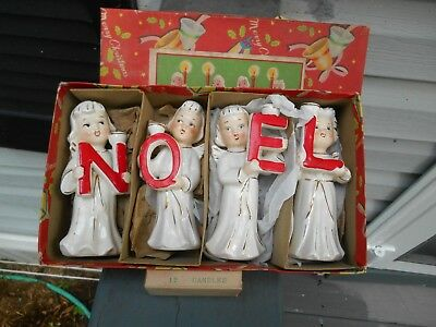 Vintage RELCO Christmas Angel NOEL Candle Holders w/ Candles & Box