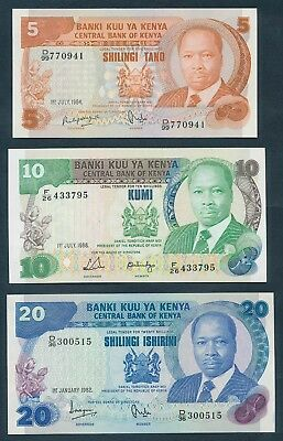 "Kenya: 1982-88 5 to 20 Shillings ""SET OF 3 NOTES"". P19c, 20g & 21b UNC Cat $32"