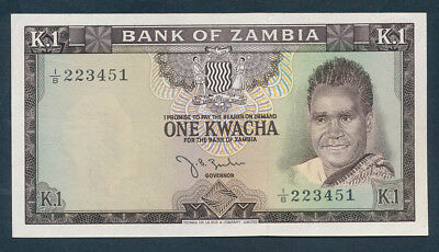 "Zambia: 1968 1 Kwacha Signature Zulu ""SCARCE ONE-YEAR TYPE"". Pick 5a EF"
