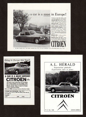 1962-1970 CITROEN DS Lot of 3 Vintage Original  Print Ad Break/Wagon DS 19 photo