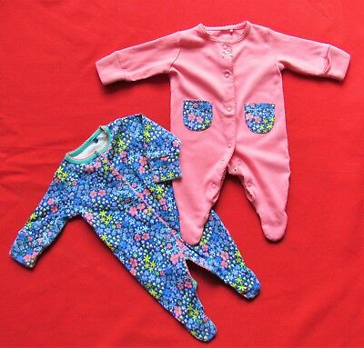 NEXT Baby Girls Sleepsuits x 2 age First Size, Tiny  ....ONLY LAUNDERED