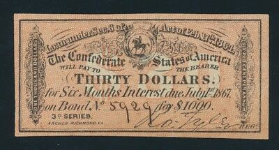 "USA: Confederate States 1864 $30 ""INTEREST BEARING COUPON"" 3rd Series. Due 1867"