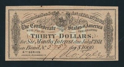 "USA: Confederate States 1864 $30 ""INTEREST BEARING COUPON"" 4th Series. Due 1874"