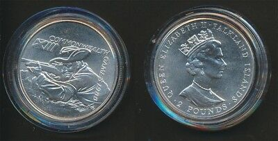 Falkland Islands: 1986 Scotland Commonwealth Game £2 Silver Crown Rifle Shooting