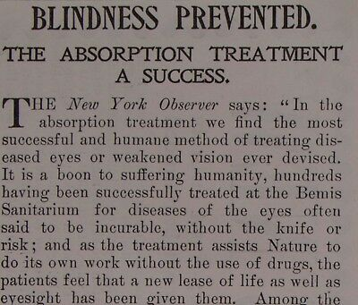 1890s Medical Quackery Print Advertising Bemis Sanitarium Blindness Cure