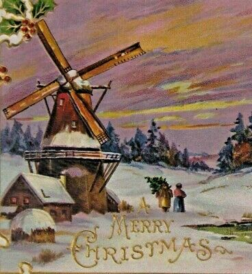 c. 1910 Embossed Colorful Christmas Postcard - H. Wessler, Windmill, Snow, Holly