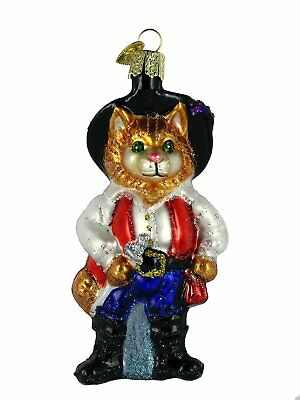 Puss n Boots Cowboy Cat Glass Ornament Old World Christmas NEW IN BOX