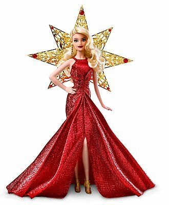 Mattel BARBIE HOLIDAY 2017 Doll Blonde Christmas Gold Star Red Gown NEW