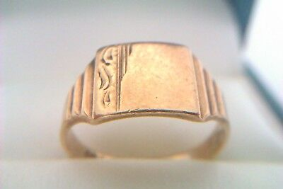 Stunning Vintage & Ornate 9ct Gold Childs Signet Ring 1967