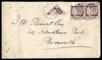 Niger Coast 1893 Cover bearing QV ½d on half of 1d (2 uns. pairs). SG 7a x2, 7c.