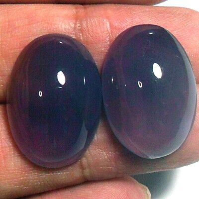 40ct Gem Violet Purple CHALCEDONY diackethyst Oval Cab Pair ~Natural Untreated~