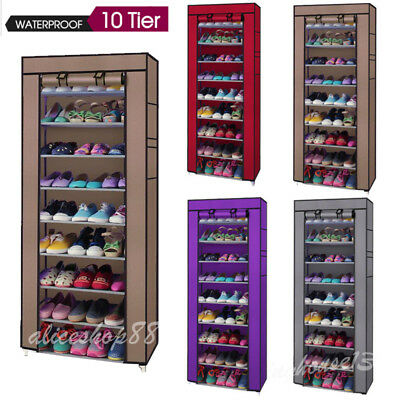10-Tier Shoe Rack Adjustable Wall Bench Shelf Closet Organizer Storage Box Stand