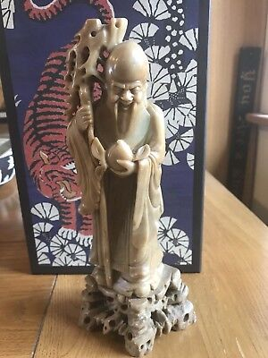Old Chinese Soap Stone Carving Immortal Scholar