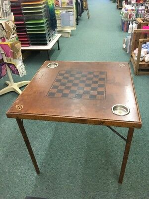 Vintage Wood Folding Card Table checkers poker built in ashtrays mid century