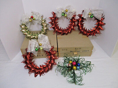 4 -VINTAGE CHRIStMAS FOIL WREATHS 3-RED-1 GREEN SPRAYS W/MERCURY GLASS BALLS