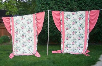 2 Vintage Shabby Cottage 1940s GORGEOUS Floral Barkcloth Era Fabric Bedspreads