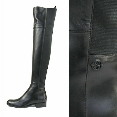 5b7ccde46 Like us on Facebook · sz 36.5 NEW $1495 GUCCI Black Leather & Stretch MAUD  OVER KNEE Flat Riding BOOTS