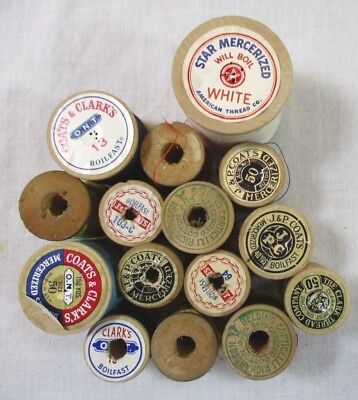 Lot of 15 Vintage Wood Wooden Spools with Thread Star Coats Belding EXVC