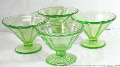Vintage Green Federal Depression Glass Sherbet Ice Cream Mixed Lot 4pc Dishes