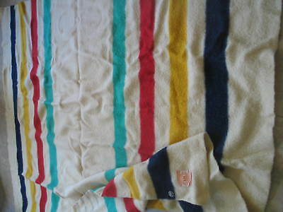 "VINTAGE 84"" X 72"" HUDSON BAY WOOL 4 P0INT BLANKET made in ENGLAND."