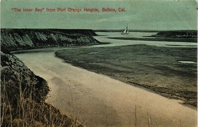 Dr Jim Stamps Us Inner Bay Balboa View Postcard California Made In Germany