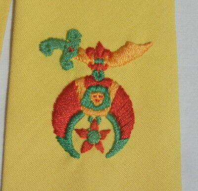 Vintage 1950s Silk SHRINERS Tie - Bright Yellow Necktie for a Good Guy FREE SHIP