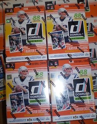 (4) 2018 Donruss Football NFL Trading Cards New 88ct. Retail Blaster Box LOT