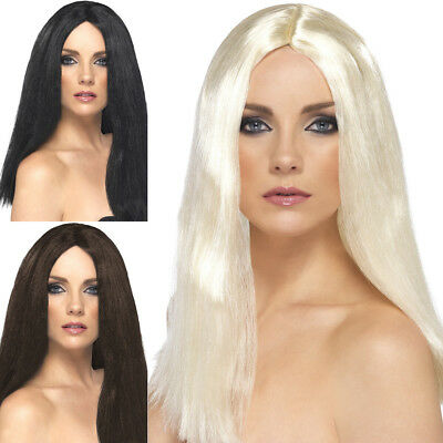 Star Style Wig 44cm Long Straight Centre Part Womens Fancy Dress Costume