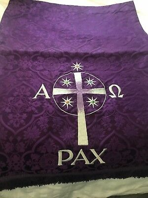 Vintage Catholic Church Altar Purple Brocade Pulpit Fall Pax Alpha Omega Cross