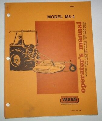 *Woods M5-4 Rotary Cutter Mower Operators Owners Parts Manual Catalog 3-pnt 1987
