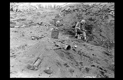 Iwo Jima Beach Dead Japanese PHOTO Buried Soldier World War 2 WW2 Marine USMC