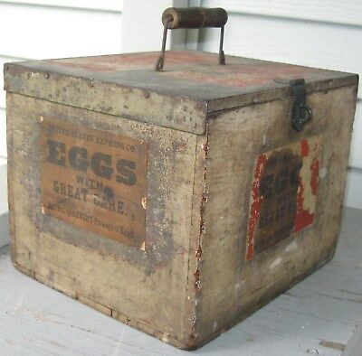 Antique Wooden Egg Box Wpaper Labels Egg Holders Handle Latch Shipping Box
