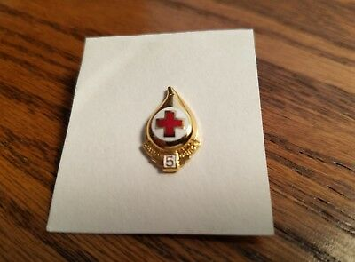 Red Cross Blood Donor 5 Gallon  Pin