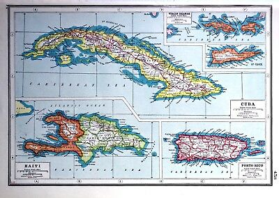 WW1 Vintage Antique Original 1920 Print Map Of Haiti Cuba Porto Rico Virgin Isla