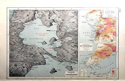 Vintage Antique Original 1920 Map Print Gallipoli To Constantinople Sulva Bay