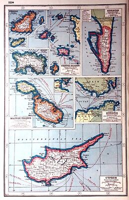 Vintage Antique Original 1920 Print Map Of Cyprus Channel Islands Gibraltar Etc