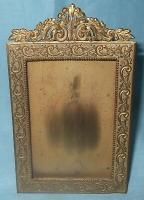 19th Century Ornate Brass Small Picture Frame * Stand or Hang on Wall