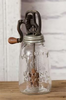 Mason Jar Rounded Glass Butter Churn Rustic Country Primitive Farmhouse Vintage