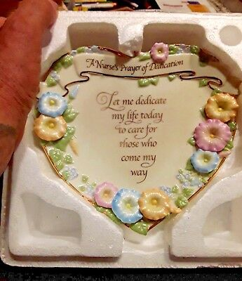 Beautiful Bradex Nurse Pray of Dedication Porcelain Heart Shaped Plaque