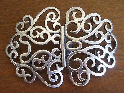 Fine Antique 1898 WM Hayes Birmingham Sterling Silver Ornate Dress Belt Buckle