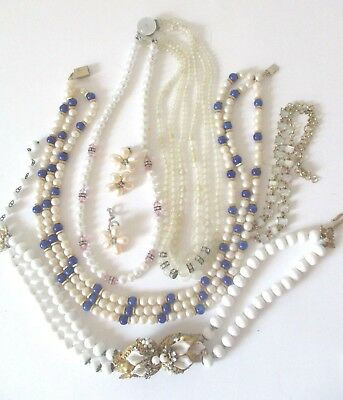 Lot Of Seven Vintage Pearl Chokers And Necklaces, Demi-Parure~