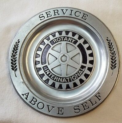 "Vintage Pew-ta-rex Pewter Rotary International 10"" Plate From Colonial, York PA"