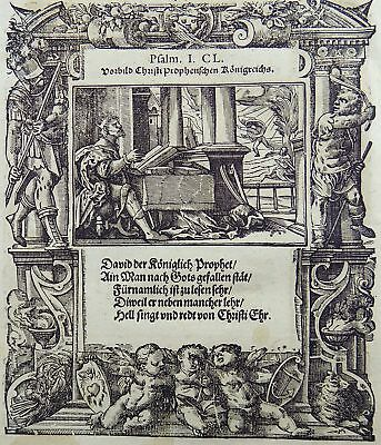 1576 Tob STIMMER 2 woodcuts PRAISE THE LORD & Judith 13 Mannerist Borders