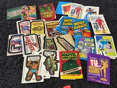 * Vintage 1970s Topps Trading Card Lot Marvel Super Heroes Wacky Packages Horror